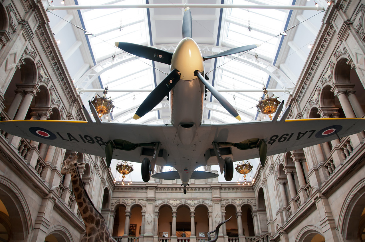 The spitfire, closer look from underneath.<br /> <br /> Kelvingrove art gallery and museum. Glasgow, Scotland.