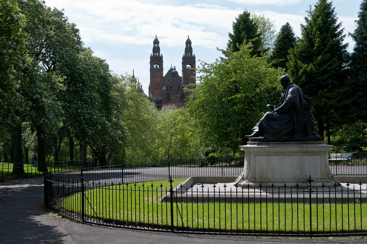 Somewhere between the Kelvingrove art gallery, and the university of Glasgow. Glasgow, Scotland.