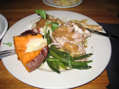 Happy Thanksgiving Turkey Dinner at the Kettle, Manhattan Beach, Ca., USA.