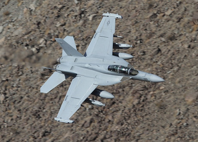 Rainbow Canyon, Ca., USA, November 22nd, 2011:  A Growler on the prowl...... A brandnew VX-9 Vampires Growler EA-18G (166946) is flying very low through the canyon. The catch of the day!