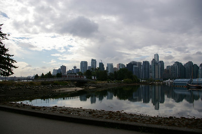 Cycling round Stanley Park - city view
