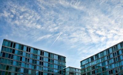 Windows, Clouds & a Contrail