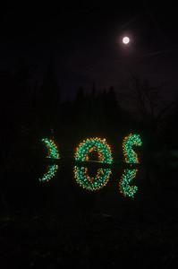 Loch Ness Monster under the moon