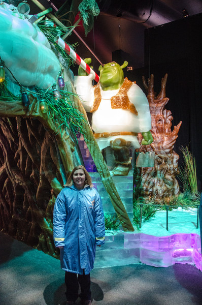 Helen and Shreck in ICE Helen standing next to the Shreck archway at ICE at the Gaylord National