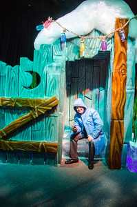 Donnie in the ICE Outhouse Donnie resting (phone-in-hand) in the ICE outhouse at Gaylord National