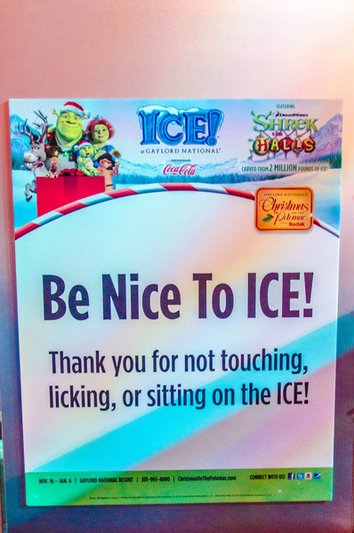 Be Nice to ICE (Even if double-dog-dared) Remember, no licking ICE at Gaylord National; even if your friend double-dog-dares you