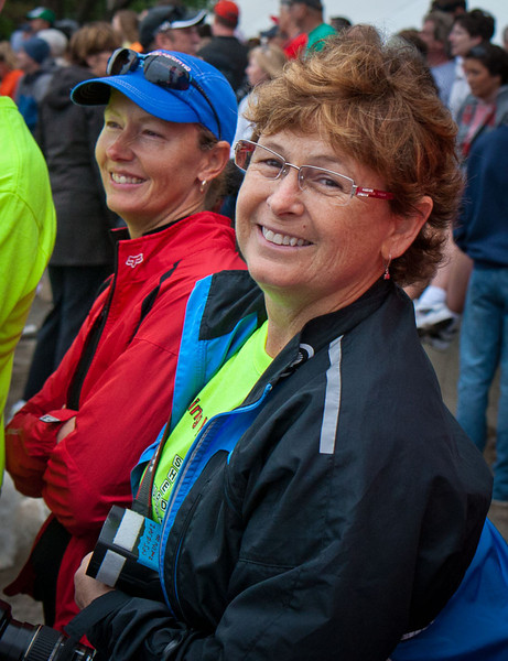 Carolyn and her BFF Vickie waiting for Tom to get out of the Ironman swim.