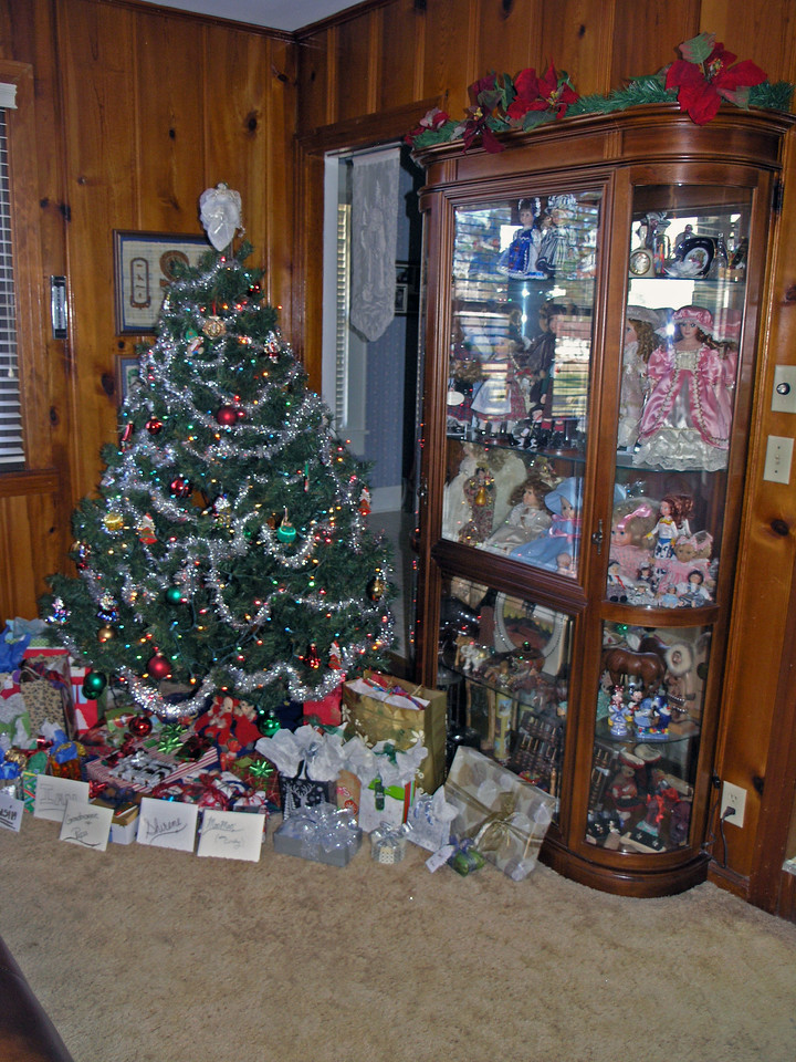 Dec 24.  Another picture of the finished tree, with Gmom's case of treasures, her doll collection, our collections from our trips, and a few other special things.
