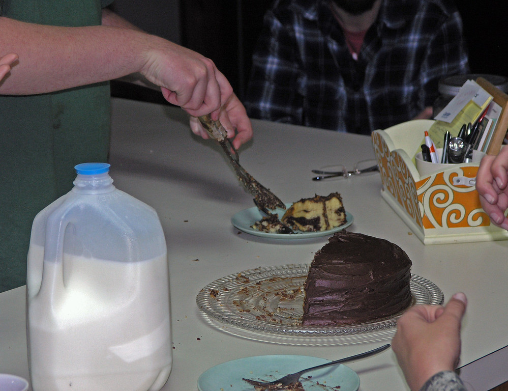 Dec 22.  Not only did Ian have two pieces, he scooped up the crumbs from the cake platter.