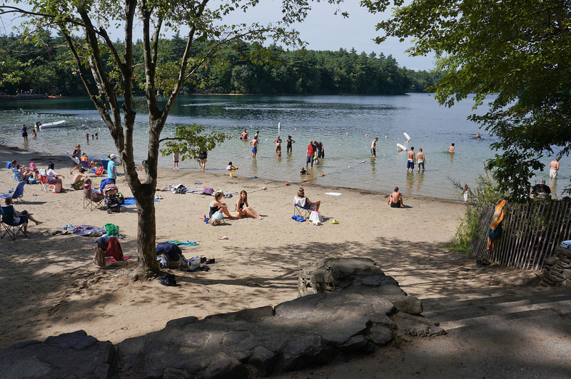 August 2012. The beach at Walden's Pond. Probably a slightly different view than what Thoreau experienced.
