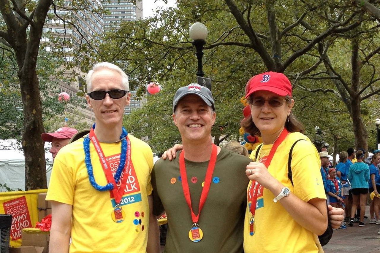September 2012. Stuart, Matt and Joanne finish another Jimmy Fund 1/2 Marathon Walk to raise money for cancer research.