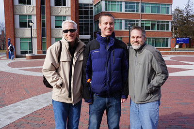 February 2012.  Visiting Matt's nephew at UConn (University of Connecticut) on a sunny, but freezing winter day.  L to R: Stuart (Matt's brother), John (Matt's nephew), and Matt.