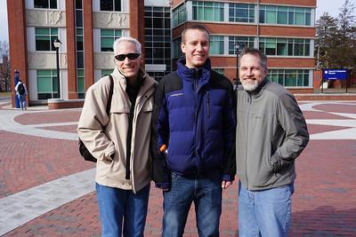 February 2012.  Visiting Matt's nephew at UConn (University of Connecticut) on a sunny, but freezing winter day.  L to R: Stuart (Matt's brother), John (Matt's nephew), and Matt.