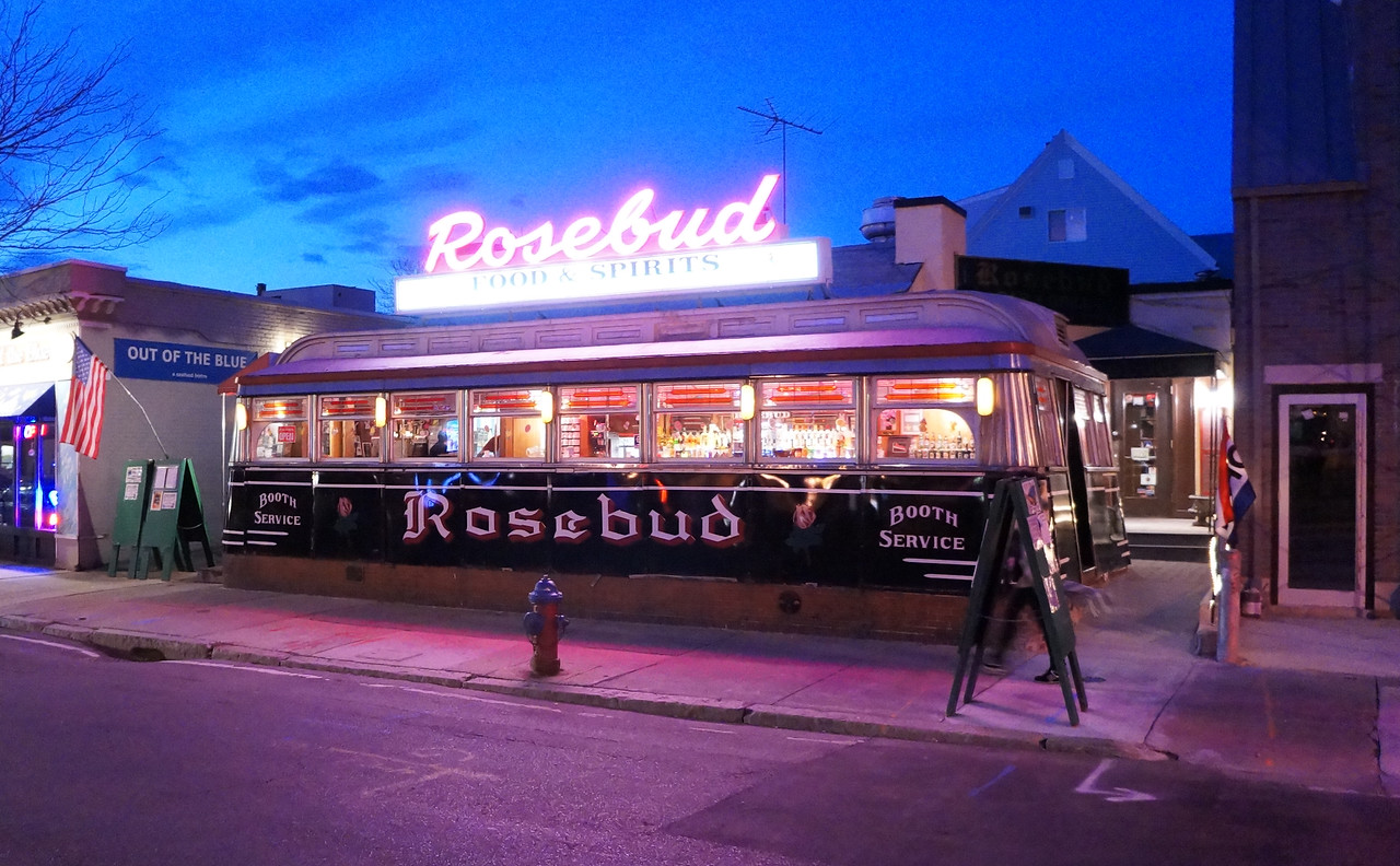 April 2012. Headed home through Davis square. Perfet light for photographing the Rosebud Diner.