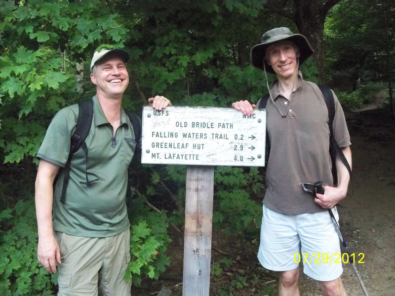 July 2012. Matt, his brother Stuart (and cousin Nico), at the beginning of the Franconia trail in the White Mountains.