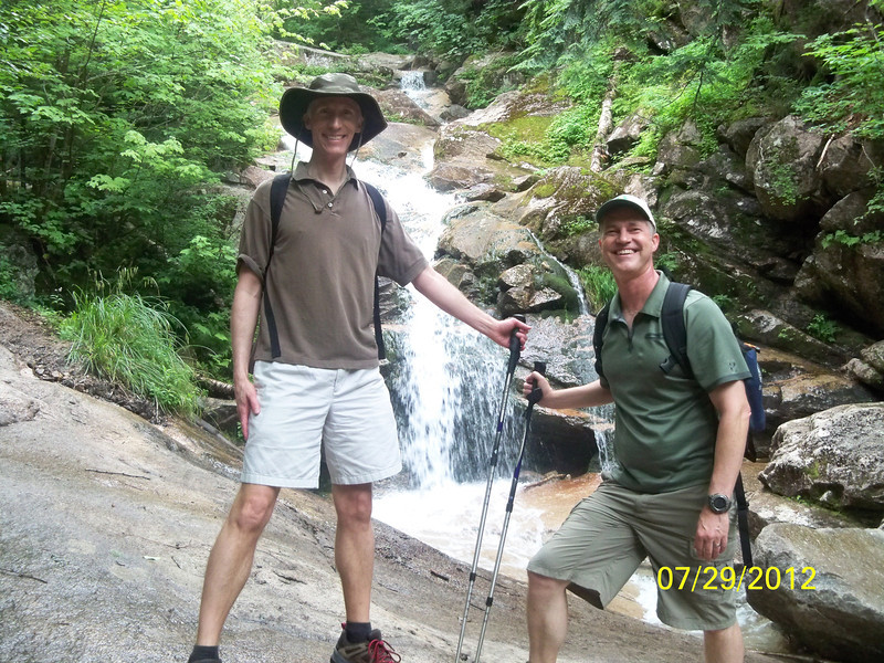 July 2012. Matt and Stuart take a break on their journey between 2 mountains in the White Mountain range in NH.