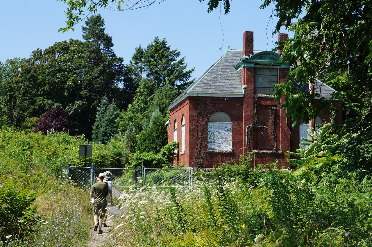 July 2012. This is an 1890 Firehouse that we discovered along our walk in the Middlesex Fells Reservoir.