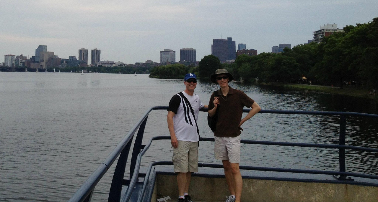 July 2012. Walk along the Charles River with Matt's brother, Stuart, and his wife, Joanne.