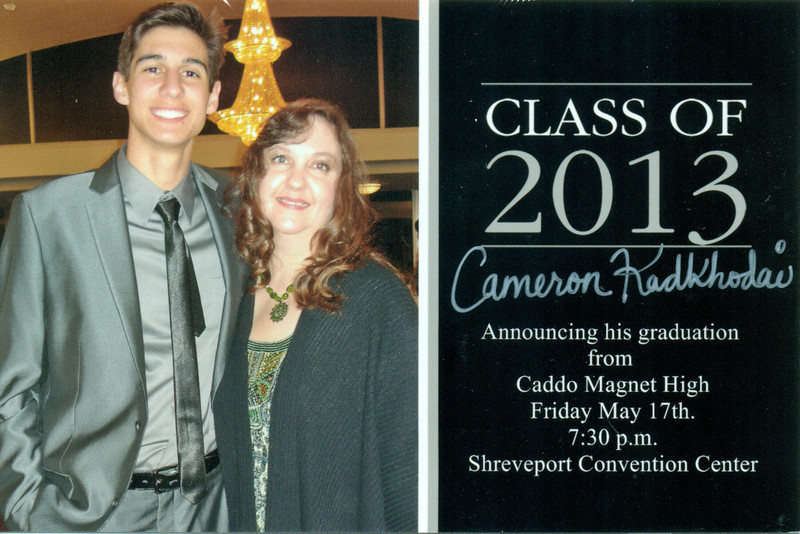 Apr.  Cameron's graduation announcement.