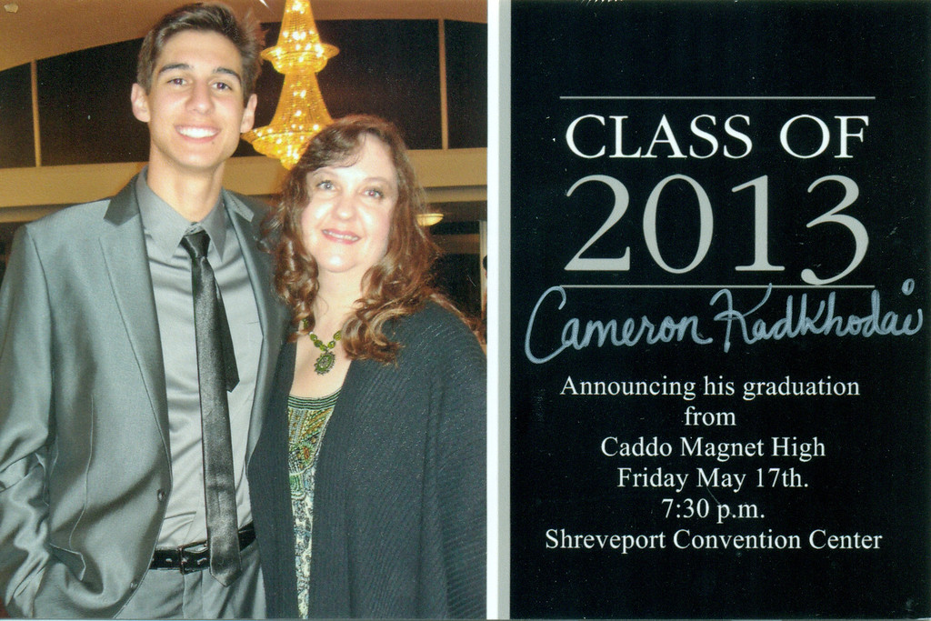 Apr.  Cameron's graduation announcement.