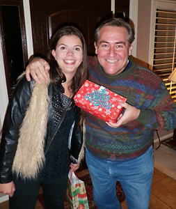 Lu and one of her host fathers, this time playing father Christmas