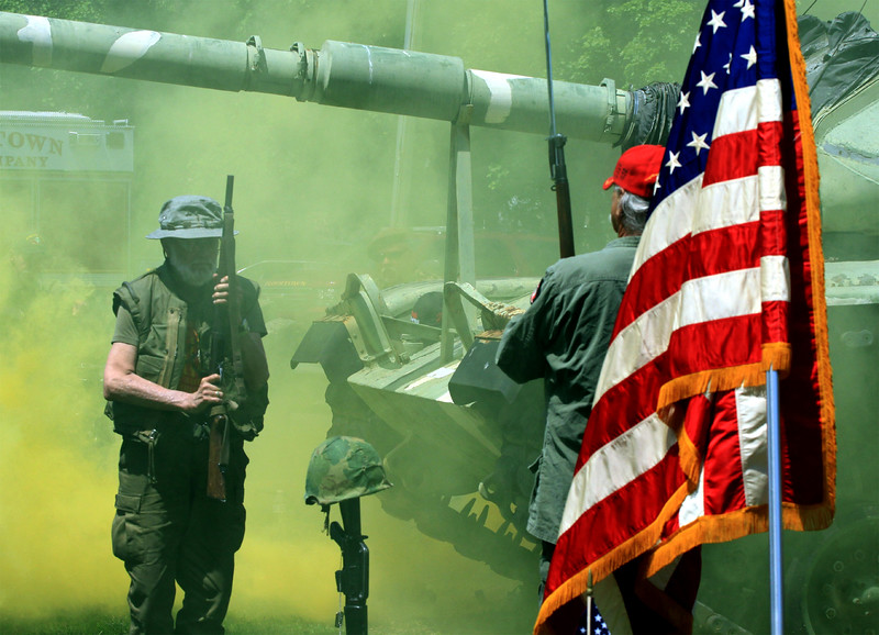 "Bob Raines--Montgomery Media<br /> Vietnam Veterans of America, Chapter 590 honors fallen comrades with the eulogy, ""The Last Patrol,"" May 25, 2015 during the Memorial Day observance at American Legion Post 1 Monday, May 25, 2015 ."