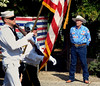 "Bob Raines--Montgomery Media<br /> Tom Woodruff, who delivers the annual Veterans Tribute, stands ""at ease"" as the color guard of the Arthur V. Savage AmericanLegion Post 100 passes during the Wyndmoor Memorial Day Parade May 25, 2015."