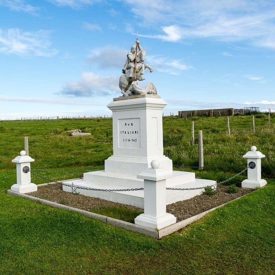 St George statue, near the italian chapel. Orkney Scotland.