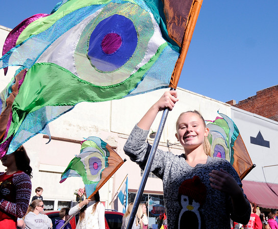 Don Knight | The Herald Bulletin<br /> The Pendleton Heights Marching Arabians march in the Christmas in Pendleton parade on Saturday.