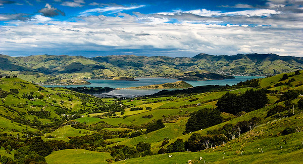 View from Hilltop Tavern over Akaroa Harbour