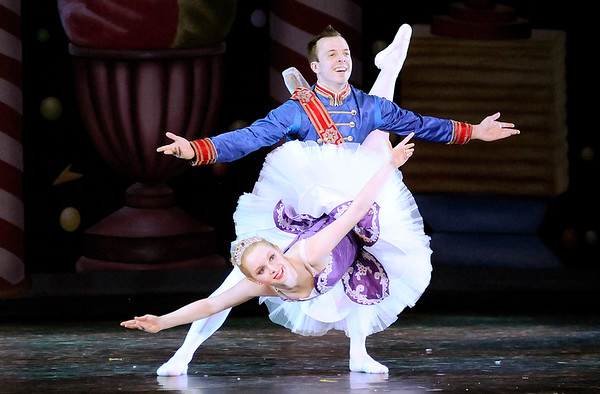 Don Knight |  The Herald Bulletin<br /> The Sugar Plum Fairy, Merritt Stults, and her Cavelier, Cole Companion, dance for Claire in the Anderson Young Ballet Theatre's production of the Nutcracker on Thursday.