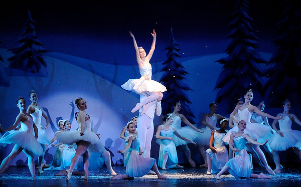 Don Knight    The Herald Bulletin<br /> The Snow King and Queen dance with the snowflakes and flurries in the Anderson Young Ballet Theatre's production of the Nutcracker on Thursday.