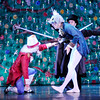 Don Knight |  The Herald Bulletin<br /> The Nutcracker, portrayed by Josh Maldonado, defeats the Mice King, Joe Modlin, in the Anderson Young Ballet Theatre's production of the Nutcracker on Thursday.