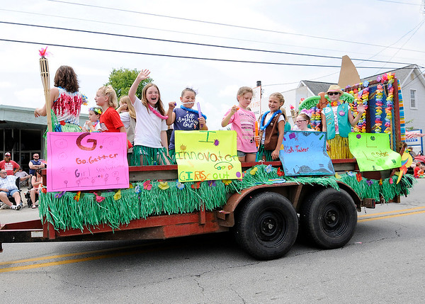 Don Knight | The Herald Bulletin<br /> The Girl Scouts decorated their float in a tropical theme for the Chesterfield Independence Day Parade on Tuesday.