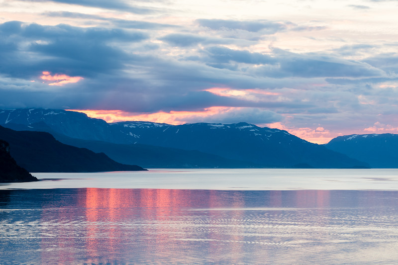 Sunset on the alta fjord.<br /> Alta Norway.