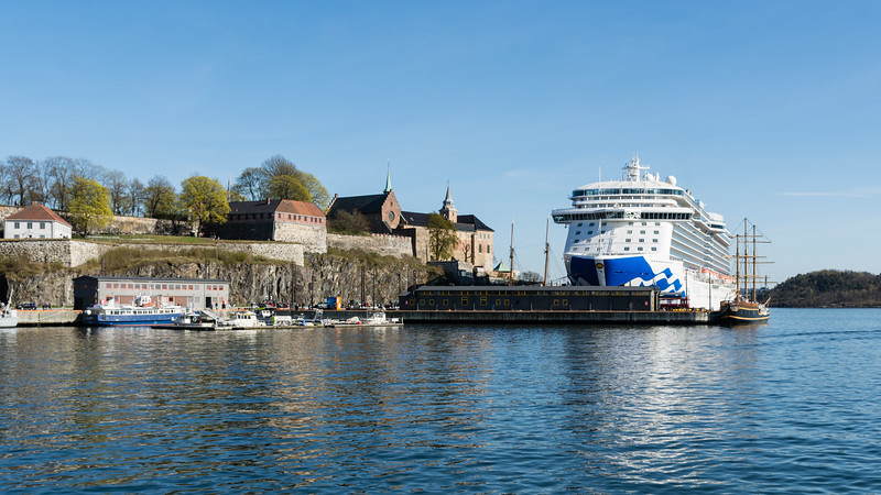 Akershus fortress and cruise boat.<br /> <br /> Oslo, Norway.