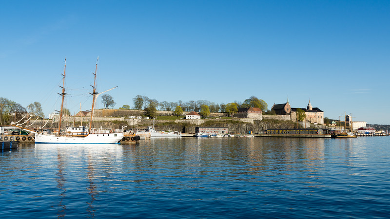 Oslo Harbour, and Akershus Fortress.<br /> <br /> Oslo, Norway