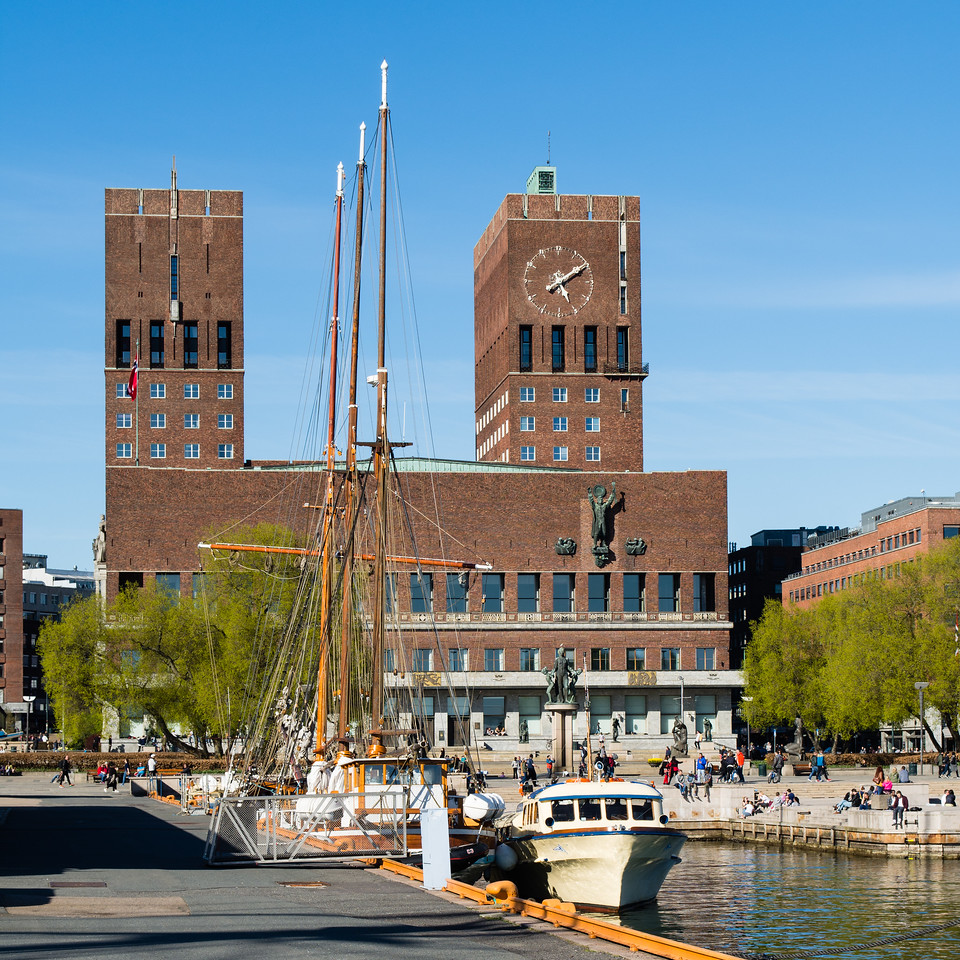 Oslo city hall, view from the harbour. <br /> Norway.