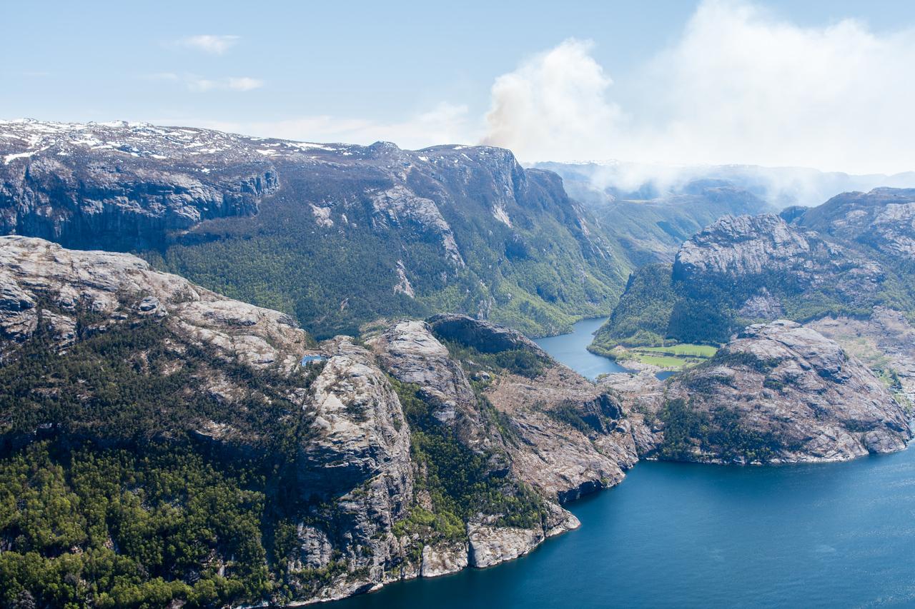 View from the Preikestolen / pulpit rock.<br /> Norway.
