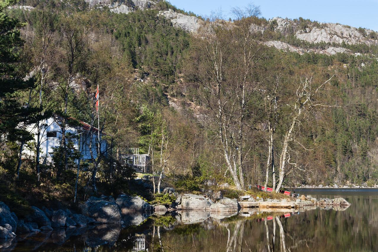 View of the lake near the preikestolen fjellstue.<br /> Norway.
