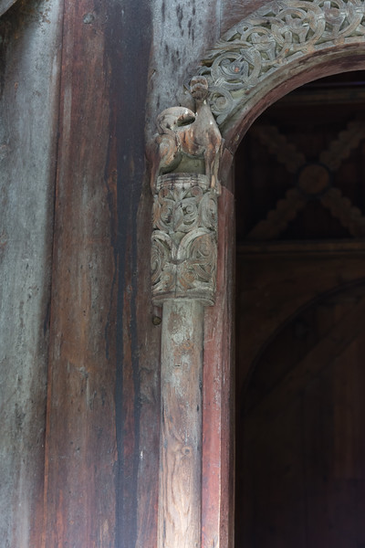 Detail of one of the doors of the Borgund stave church.<br /> Norway