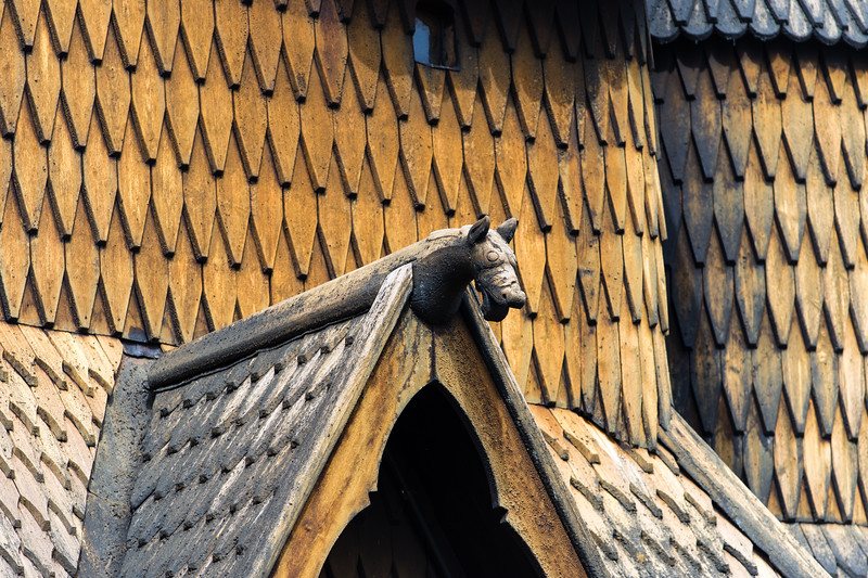 Detail of the Heddal stave church.<br /> Notodden, Norway.