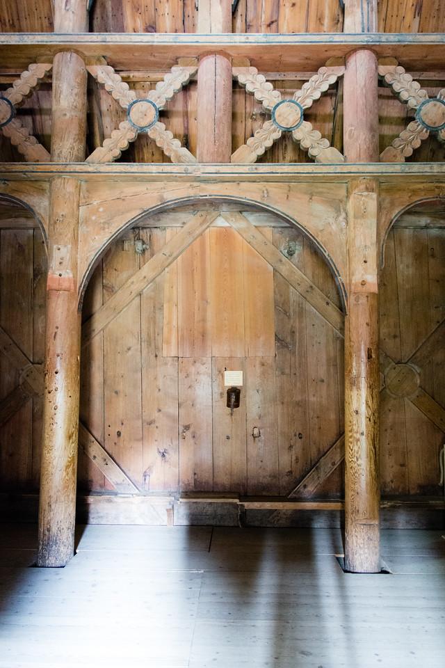 Inside Borgund stave church.<br /> Norway