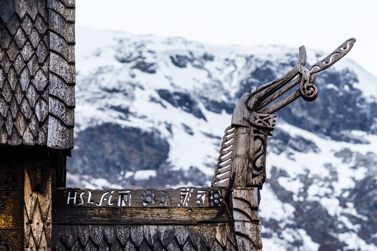 Detail of the roof of the Borgund stave church.<br /> Norway.