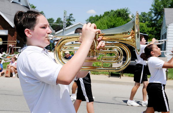 Don Knight | The Herald Bulletin<br /> Alexandria's Marching Tigers march in Chesterfield's Independence Day Parade on Thursday.