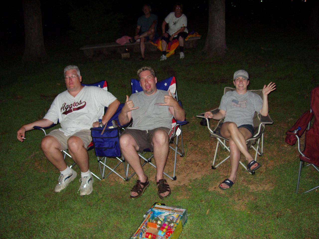 Paul, Jason and Laura watch fireworks