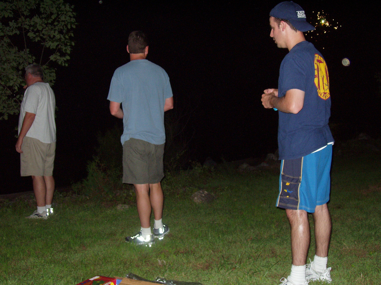 Paul, Terry, and Bryan watch fireworks