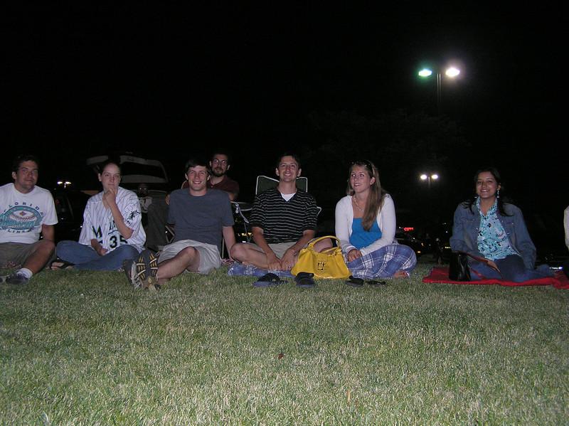 Waiting for fireworks:<br /> Sean, Kay, Jordan, Seth, Jake, Theresa, Sharna