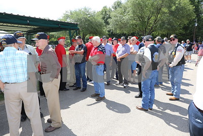 Active and retired veterans of all ages and branches ready to make their grand entrance to the Tyler Memorial Park Cemetery for the Tyler Veterans Memorial Day Services.