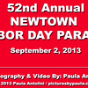 "SEE VIDEO OF THE GIANT FLAG at the 52nd Annual Newtown Labor Day Parade 2013 (with actual music played during this event).<br /> <br /> Once again, as in past years, the parade included a moving ceremony of a large historical ""National Flag"" that was unfurled near the flagpole at the top of Church Hill Road and then hand-carried along the parade route by numerous volunteers. The flag spanned across the road, 45-by-90-feet in size, and weighs 300 pounds, said the parade committee president Beth Caldwell.<br /> <br /> Marc Valentine of Halifax, Massachusetts, director of The National Flag Truck program, transports the historical flag across the country. This is one of over 20 90-footers, that appears at ""Official Affairs of State"" and full ""Honor"" ceremonies, economic summits, and National Re-Dedications. The flag is from the largest collection of giant flags in the world. It is transported aboard the National Flag Truck which was donated by International Truck and Engine and assembled by volunteers at the Springfield, Ohio plant."